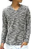 (マルカワジーンズパワージーンズバリュー) Marukawa JEANS POWER JEANS VALUE カットソー Tシャツ メンズ 長袖 無地 Vネック スラブ 4color M ブラック
