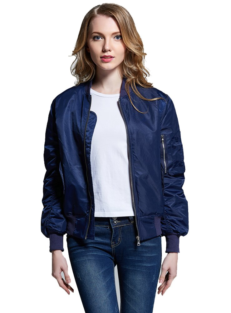 Women Vintage Bomber Jacket Classic Zip up Biker Jacket Stylish Padded Coat 1