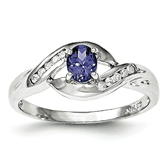 14ct White Gold Tanzanite and Diamond Ring
