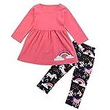 2-6T Kids Girls Long Sleeve Rainbow Cloud Shirt Tops+Unicorn Pony Pants Outfits (Watermelon Red, 4-5T)