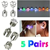 AYAMAYA 5 Pairs Changing Color Christmas Light Up LED Earrings Studs Flashing Blinking Earrings Dance Party Accessories Valentines Day Easter Gifts for Kids Him Her Men Women