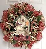 Birdhouse with Santa and Cardinal Merry Christmas Wreath