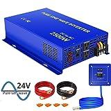 XYZ INVT 2500W Pure Sine Wave Inverter - 24V DC to AC 120V with 15ft Remote Controller, Surge Power 5000w, Power Converter for Solar System, Off Grid. (2500W 24V/Remote) (Tamaño: 2500W24V Remote)