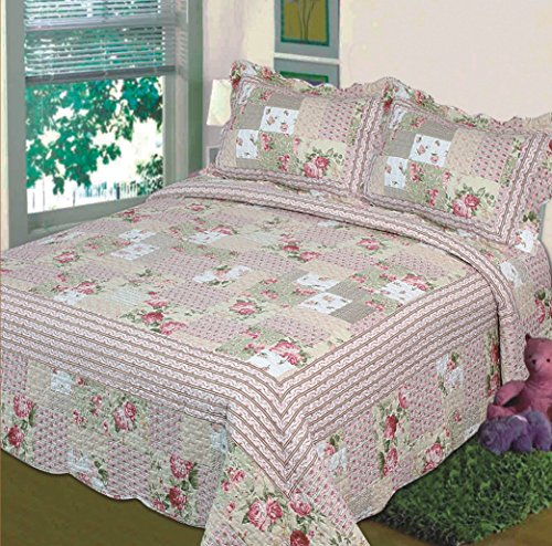 Fancy Collection 3Pc Bedspread Bed Cover Pink Beige Green Flowers (Queen) front-358082