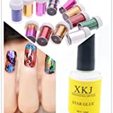 Warm Girl 12pc Nail Art Transfer Foil Nail Art Sticker DIY Nail Art Decorations & 1pc Star Glue Set