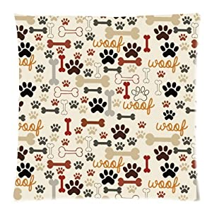 Dog Paws and Bones Cushion Case - Decorative Square Throw Pillow Cover Cushion Case Pillowcase with Hidden Zipper Closure - 18x18 inches, Twin-sided Print by dfdfbQQ