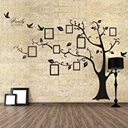 WDA Huge Memory Tree Photo Frames Family Tree Braches PVC Romovable Wall Decals Wall Stickers Decorations (Left, Black)