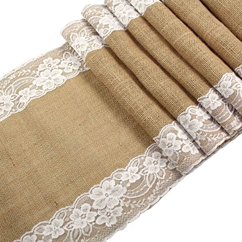 OurWarm Burlap Lace Hessian Table Runner Jute Country Outdoor Wedding Party Décor (Burlap Table Cover compare prices)