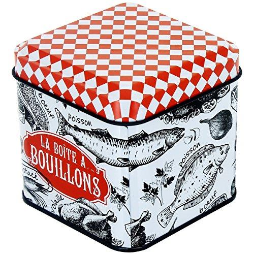Promobo -Boite De Rangement A Bouillons Bistrot Design Légumes Rouge