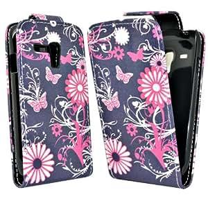 Accessory Master Housse en cuir pour Samsung Galaxy S3 mini i8190 Fleur Pourpre