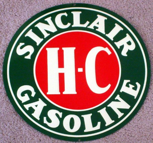 "Sinclair 12"" Diameter H-C Gasoline Collectible Metal Sign"