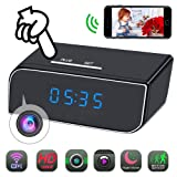 Spy Camera Clock WiFi Hidden Camera HD 1080P Mini Small Wireless Camera Pinhole Home Security Surveillance Nanny Cam with 12 Pcs IR Night Vision, Motion Detection Alarm (Phoncoo 2018 Upgrade)