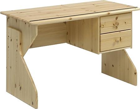 Meuble de bureau avec 2 tiroirs en pin massif coloris naturel laqué, 75 x 120 x 60 cm -PEGANE-