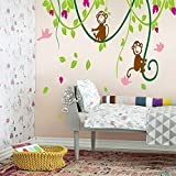 Large Naughty Monkeys on tree vine Wall Art Sticker Decal for nursery Bedroom Decor Removable baby Kids room wall mural children birthday party Decoration Home Wall Art Decoration