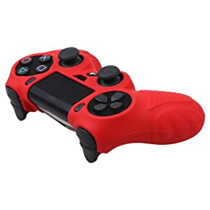 MXRC Silicone GRIP cover skin case anti-slip for PS4/SLIM/PRO controller x 1(red) + FPS PRO extra height thumb grips x 8 (Color: 3D Grip Red, Tamaño: 3D Grip)