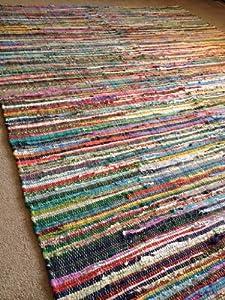 Fair Trade Hand Loomed Indian Multi Coloured Rag Rug 210cm x 270cm or 7ft x 9ft