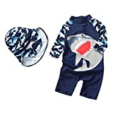 Kids Baby Boys Girl One-Pieces Rash Guard Long Sleeve Swimsuit Sun Protection Bathing Suit Size 9-12M (Navy Blue) (Color: Navy Blue, Tamaño: 9-12 Months)