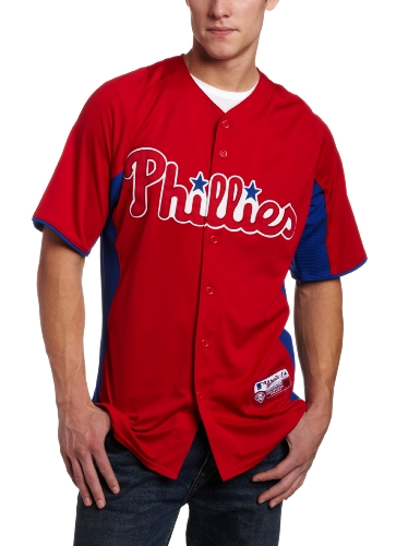 MLB Philadelphia Phillies Authentic Cool Base Batting Practice Jersey, Red/Royal, Large at Amazon.com