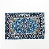 Odoria 1:12 Blue Floral Print Vintage Carpet Rug Blanket Miniature Dollhouse