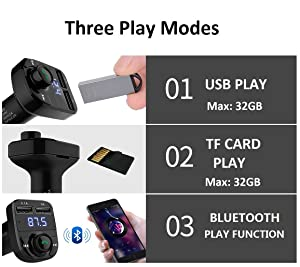 Handsfree Call Car Charger,Wireless Bluetooth FM Transmitter Radio Receiver&Mp3 Music Stereo Adapter,Dual USB Port Charger Compatible for All Smartphones,Samsung Galaxy,LG,HTC,etc. (Color: black)