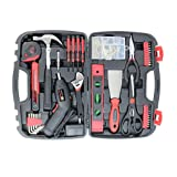 Tool Set Toolbox with Tools for Women Included Cordless Screwdriver-SAVWAY P7994 Hand Tool Storage Case Homeowner's Tool Kit with Drill Red and Black (Color: RED&BLACK, Tamaño: 143pcs)