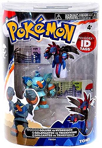 Pokemon Golurk Vs. Hydreigon Figures with ID tags
