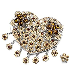 Pugster Luxury Vintage November Birthstone Topaz Crystal Heart Flower Set Brooches And Pins