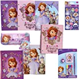 Disney Jr. Princess Sofia the First School Supply Value Pack Gift Set for Kids - 5 Piece Princess Sofia the First School Supply Set with 3 Spiral 3-Hole Punch Notebooks & 3 Folders (3 Fun Designs of Each), 1 7-Piece Stationary Set, 1 Pencil Case PLUS Bonus Princess Sofia Stickers