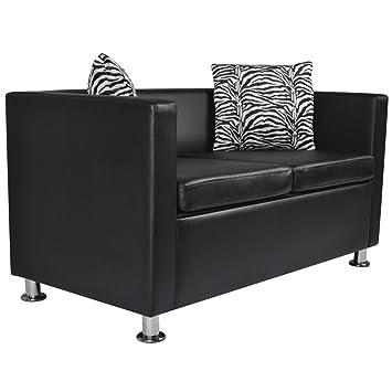 Sofa Couchtisch Zebra aus Kunstleder schwarz moderne Möbel
