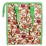 Womens Nylon Insulated Lunch Tote Bag (Lime Green Owl)