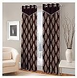 FASHIONFAB 2 Piece Polyester Window Curtain - 5ft, Brown