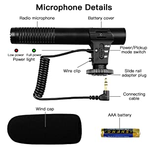 Video Microphone, SAMTIAN Camera Microphone Shotgun Interview Microphone for Canon Nikon Sony Panasonic Fuji with AAA 1.5V Alkaline Battery and Windproof Cotton