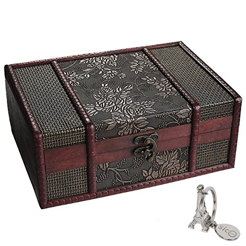 SiCoHome Treasure Box 9.0inch Grape Small Trunk Box Vintage Jewelry Storage Treasure Cards Collection Wooden Gift Box Decorative Box,for Gifts And House Decoration