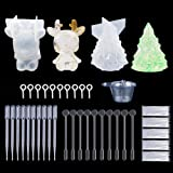 Resin Casting Molds, 142Pcs Christmas Tree Bear Silicone Jewelry Casting Making Molds Pendant,Screw Eye Pins,Disposable Plastic Cups,Stirrers,Droppers,Disposable gloves for Polymer Clay(142-Christmas) (Color: 421-christmas)