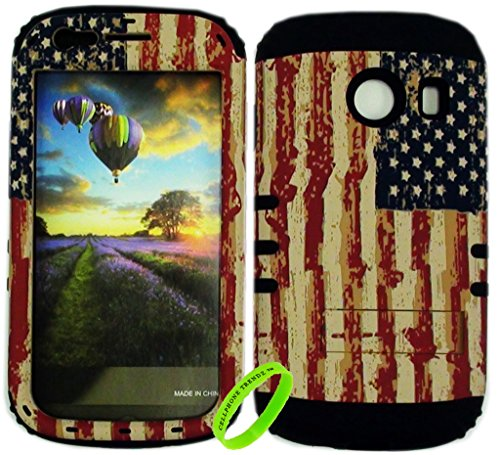 Cellphone Trendz HYBRID ROCKER HIGH IMPACT PROTECTIVE CASE COVER for Samsung Galaxy Ace Style S765c Straight Talk, Net10 and TracFone - American Rustic Flag Design Hard Case on Black Silicone (Camo Cases For Samsung Galaxy Ace compare prices)