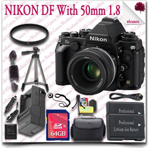 "Nikon Df Cmos Fx-Format Digital Camera With 50Mm F/1.8G Lens (Black) + 64Gb Sdhc Class 10 Card + Hdmi Cable + Slr Gadget Bag + 57"" Tripod 15Pc Nikon Saver Bundle"