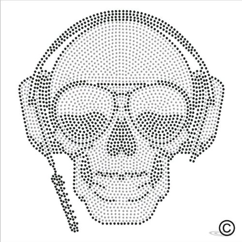 Rhinestone Diamante Crystal Iron On T Shirt Design Transfer - Music Headphone Skull