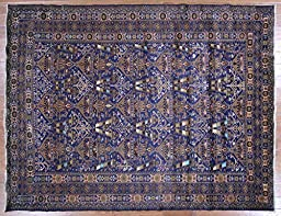 7\'x9\' Vase Design Geo-Floral Navy Blue Tribal Afghan Hand Knotted Area Rug P1401