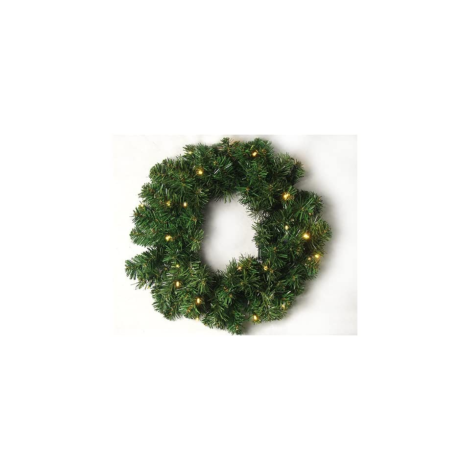 18 Pre Lit LED Battery Operated Artificial Christmas Wreath   Warm Clear Lights