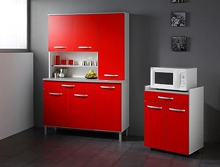 Kuchenschrank Seamus 3 weiß rot grau Schrankkombination Buffetschrank Anrichte Buffet Kuche