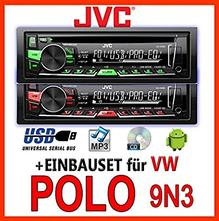 Volkswagen polo 9N3 jVC-kD-r469E cD/mP3/uSB avec kit de montage