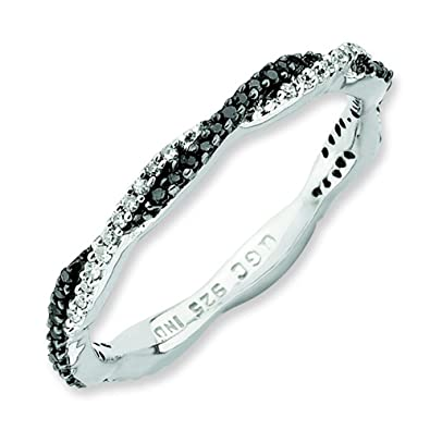Stackable Expressions Size 5 - Diamond Twist 2.25mm Black & White Band Silver Stackable Ring UK Ring Size - J
