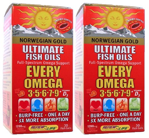 Renew Life Norwegian Gold Every Omega 3,5,6,7,9 With Vitamin D3 - 2 Pack