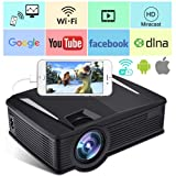 Wireless WiFi Projector,Weton 2200 Lumen Mini Movie Projector for Outdoor Home Portable LCD Video Projector 1080P, WiFi Directly Connect for Smartphones, 50,000 Hours Lamp Life,Support HDMI USB VGA SD
