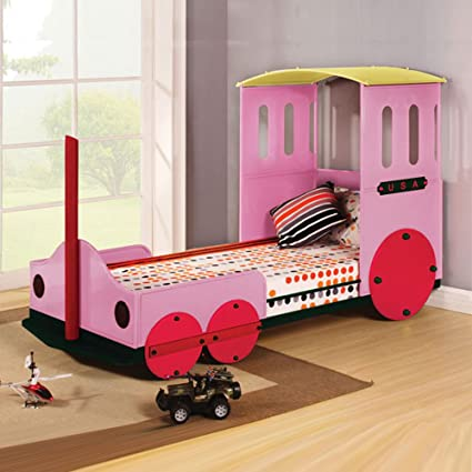 Youth Lovely Kids Children Train Style Metal Frame Twin Bed Red & Pink