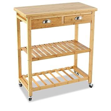 Beistellwagen auf Rollen - für die Küche - Küchenwagen mit 2 ...