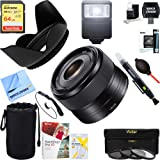 Sony SEL35F18 35mm f/1.8 Prime Fixed E-Mount Lens + 64GB Ultimate Filter & Flash Photography Bundle (Tamaño: Deluxe Bundle)
