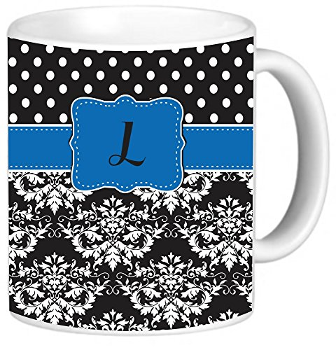 """Rikki Knighttm Rikki Knight Initial """"L"""" Lime Green Black Damask Dots Monogrammed Design 11 Oz Photo Quality Ceramic Coffee Mug Cup - Fda Approved - Dishwasher And Microwave Safe"""