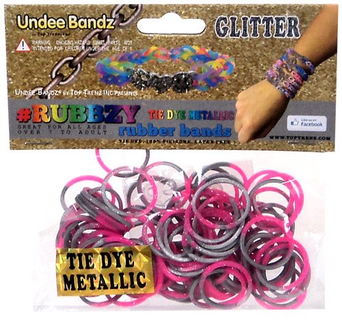 Undee Bandz Rubbzy 100 METALLIC SILVER & PINK GLITTER Tie-Dye Rubber Bands with Clips