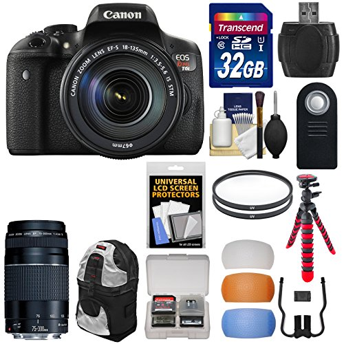 Canon EOS Rebel T6i Wi-Fi Digital SLR Camera  &  EF-S 18-135mm IS STM  &  75-300mm III Lens with 32GB Card + Backpack + Tripod + Filters + Diffusers + Kit